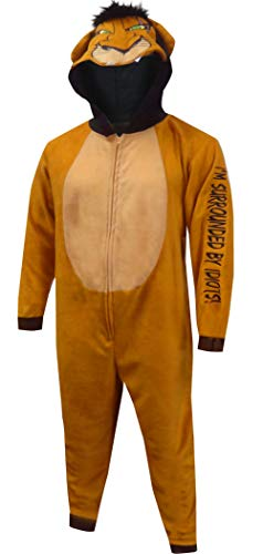 Disney Men's Lion King Scar The Villain Onesie Pajama (2XL/3XL) Brown