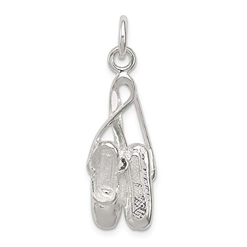 Mia Diamonds 925 Sterling Silver Solid Ballet Slippers Charm (27mm x 10mm)
