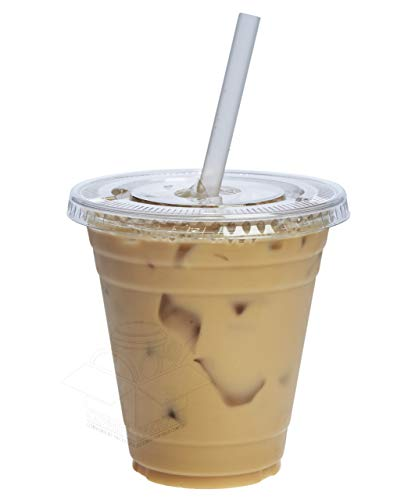 [100 Sets - 12 oz.] Plastic Cups With Flat - Plastic Disposable Lids Cups