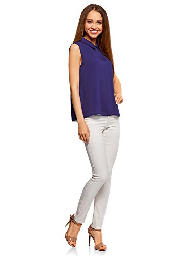 7502n Blouse Basique Ultra oodji Violet Femme sans Col Manches Bq8paSxw