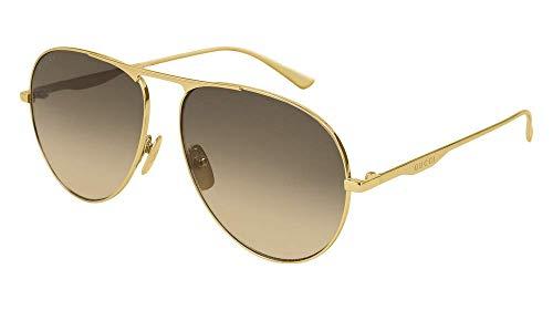 Gucci GG0334S 001 Brown Aviator Sunglasses ()