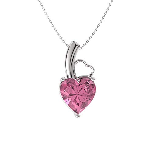 (Diamondere Natural and Certified Heart Cut Pink Tourmaline Solitaire Petite Necklace in 14k White Gold | 0.42 Carat Pendant with Chain)