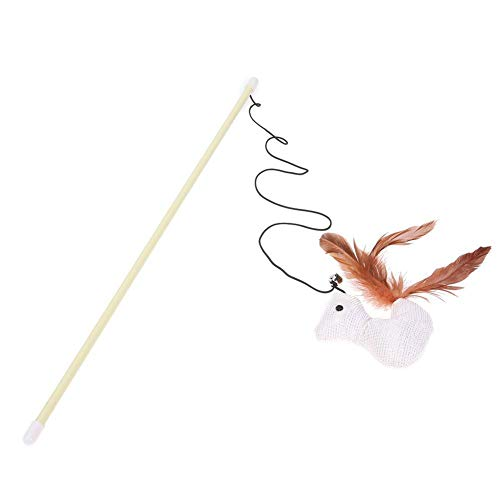 Agordo Cat Toy Feather Bell Rod Toy Cat Kitten Funny Playing Teaser Interactive Pet Toy