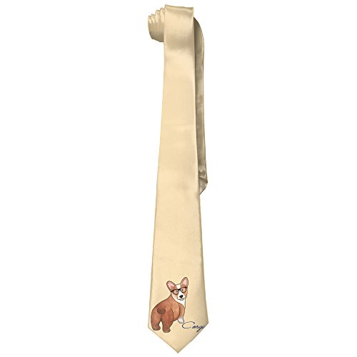Kawaii Corgi With Sunglass Men's Tie Long Necktie Skinny Neckwear - Sunglasses Kawaii