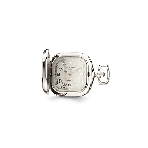Charles Hubert Gold-pltd Two-tone Chrome Princess Square Pocket Watch ()