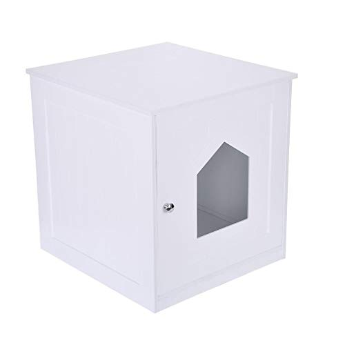 Islandse Decorative Cat House Side Table Pet Nightstand Crate Cat Litter Box Enclosures White
