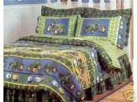 John Deere Plaid Bedskirt Dust Ruffle Twin