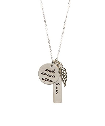By Hannah Design Sterling MEMORIAL Personalized Necklace with Angel Wing Charm