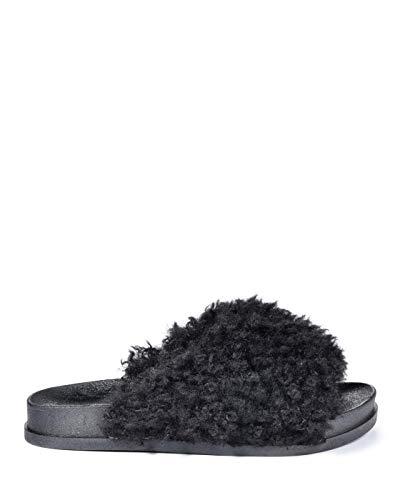 CAPE ROBBIN Moira-34 Faux Sheep Fur Open Toe Slide Slip On Flip Flop Flat Sandal (6, Black) ()