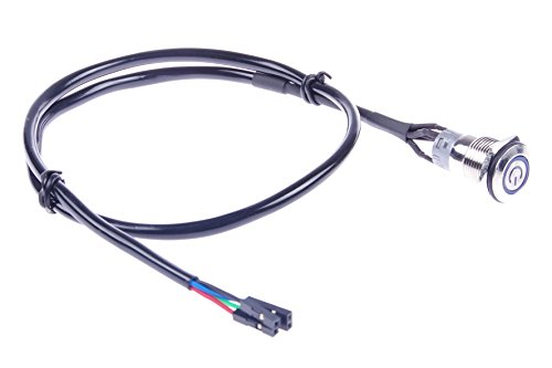 KNACRO 16mm Chassis Switch With 60cm/23.6in Cable Blue LED Ring With switch symbol For DIY computer switch and restart button