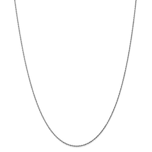 Lite Baby Rope Chain (10k White Gold .8mm Lite-Baby Rope Chain Necklace - 24 Inch)