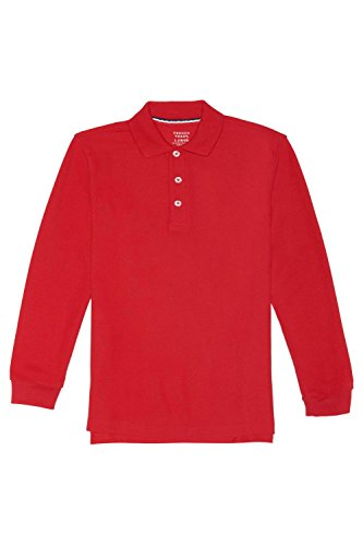 French Toast Big Boys' Long-Sleeve Pique Polo, Red, L (10/12) by French Toast