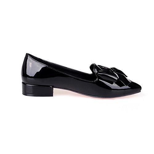 Balamasa Dames Metalen Strik Puntige Koe Lederen Pumps-schoenen Zwart