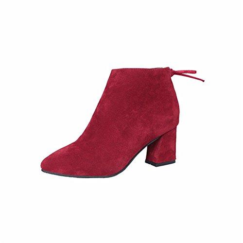 Damen Warme Stiefeletten Schuhe Party Spitzen Reißverschluss Block Junkai Für Weinrot Ferse Winterschuhe Büro Stiefel Frauen Frauen Mode nxnZq107
