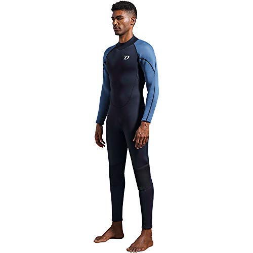 dark lightning Premium CR Neoprene Wetsuit, 2018 Mens Long Sleeves Scuba Diving Thermal Wet Suit in 3/3mm, Full Suit (Men's - Length Mens Wetsuit Full