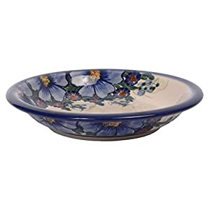 Traditional Polish Pottery, Handcrafted Ceramic Soup or Pasta Plate 22cm, Boleslawiec Style Pattern, T.201.Passion