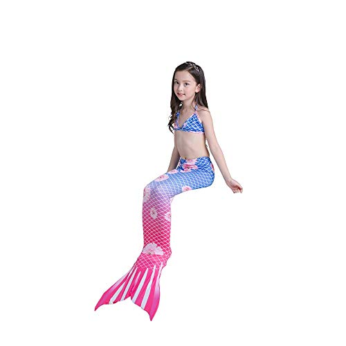 Women's Swimsuit Mermaid Tail for Swimming for Kids ,3Pcs Mermaid Tail for Baby Girls Swimming Mermaid Bathing Suits Swimsuit Bikini Set 3-12 Years (Color : C, Size : 130CM)