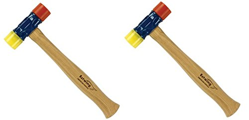 Estwing Rubber Mallet - 12 oz Double-Face Hammer with Soft/Hard Tips & Hickory Wood Handle - DFH12 (2-(Pack))