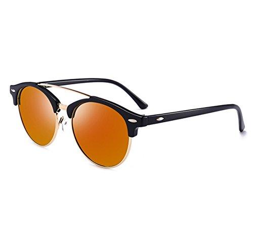 de de del sol Gafas Naranja Gafas la del marco clásico de conducción vendimia Negro polarizadas medio Rojo aviador antideslumbramiento H4ddOwq