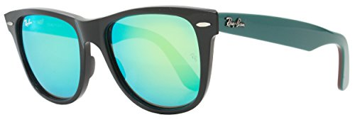 Ray-Ban Wayfarer Sunglasses RB2140 1175/19 Size: 54mm Shiny Black/Green - Sizes Wayfarer