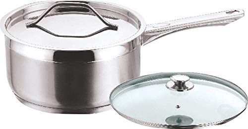 Vinod Stainless Steel Two Tone Saucepan with Glass Lid   14 cm, 1.1 Ltr  Induction Friendly