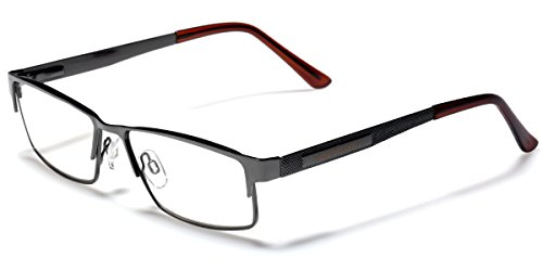 Metal Wire Rim Rectangular Frame Reading Glasses with Spring Hinge Various Strengths and Colors LARGE - Men Large Frame Glasses