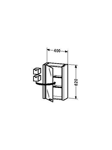 Duravit Spiegelschrank 2nd floor 200x400x 620mm,1 Spiegeltür,TA li,weiss hochglanz, 2F9650L8585