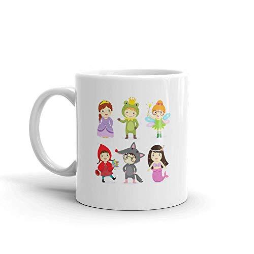 Dozili Funny Coffee Mug - Set Of Kids Wearing In Fairy Tale Theme Little Red Riding Hood Ceramic Coffee Mug Cup, 11 Oz, -