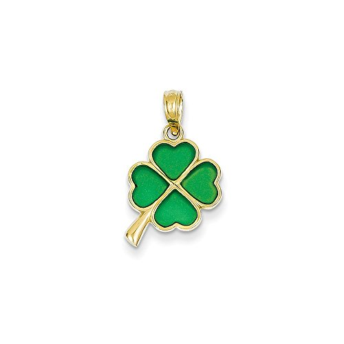14K Gold 4-Leaf Clover Translucent Acrylic Pendant (0.79 in x 0.39 in)