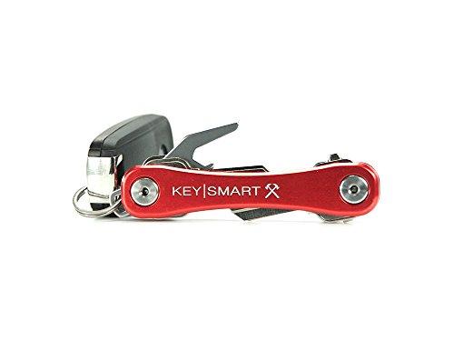 KeySmart Rugged Key Holder | Multi-Tool Style Compact Key Chain and Key Organizer - Red