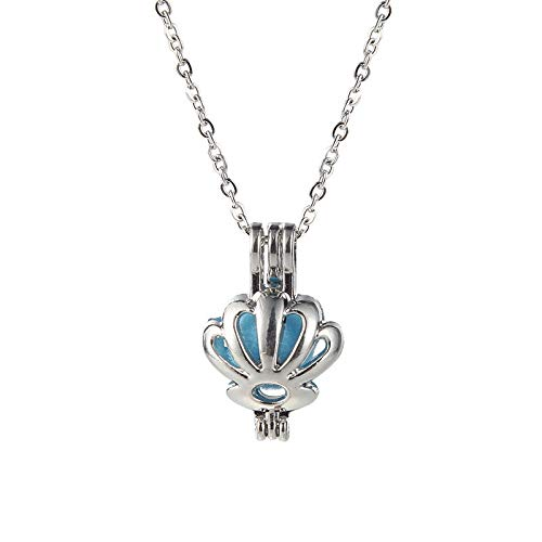 1pc Women Silver Plated Shell Pearl Beads Cage Locket Pendant Necklace Jewelry Gift DI9F ()