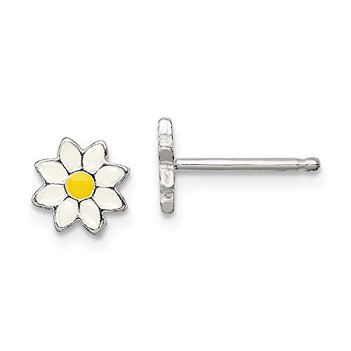 925 Sterling Silver Enameled Flower Post Stud Earrings Gardening Fine Jewelry Gifts For Women For Her