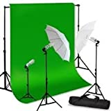 GTAPhotoStudio Continuous Lighting Green Screen Studio Kit with Carrying Bag with 6x9-Feet Chroma Key Green Screen, 2 7-Foot Light Stands (Black)