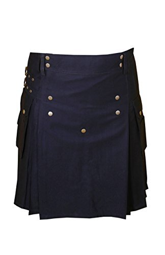 Traditional Black Utility Kilt Brass Material (Belly Button Measurements 46)