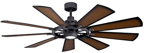 Kichler 300265DBK Gentry 65 Ceiling Fan with LED Lights and Wall Control, Distressed Black
