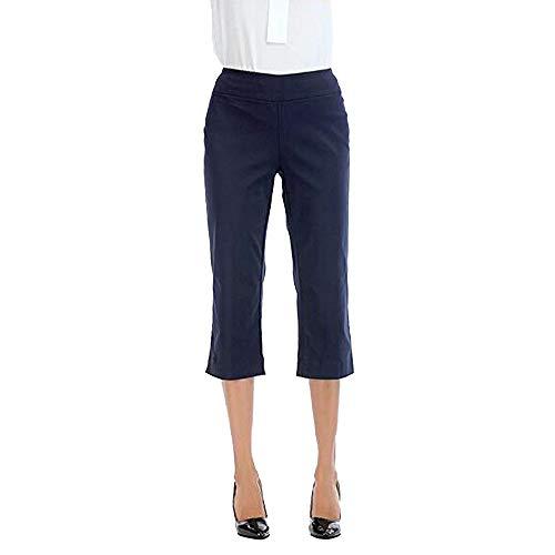 nikunLONG Women Pants Comfort Straight Leg Boot Cut Skinny Trousers Capri Tummy Control Pants Flare Casual Pants Blue ()