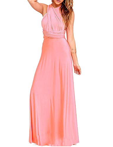 - Sexyshine Women's Backless Gown Dress Multi-Way Wrap Halter Cocktail Dress Bandage Bridesmaid Long Dress (PI,M) Pink