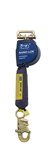 3M DBI-SALA Nano-Lok Extended 3101581 Fall Arrest Safety Clip, 11' Extended Length, Single Leg, Quick Connector Harness Mounting, and Steel Snap Hook End