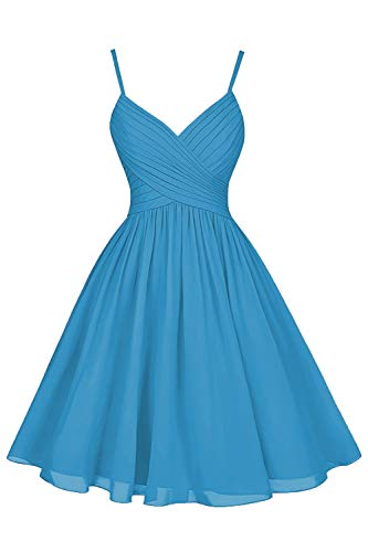 Short V Neck A-Line Spaghetti Strap Formal Wedding Bridesmaid Cocktail Party Dresses with Pockets for Women Ocean Blue