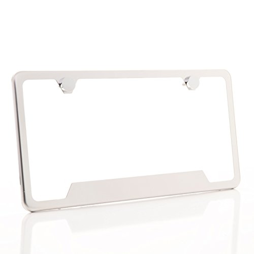 (Circle Cool T304 Stainless Steel Polish Mirror Buttom Cut Out License Plate Frame Holder Tag w/Chrome Metal Cap ...)