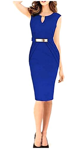Dress Mid Neck As1 Bodycon Womens Skinny V Sleeveless Sexy Career Coolred nORTqFx