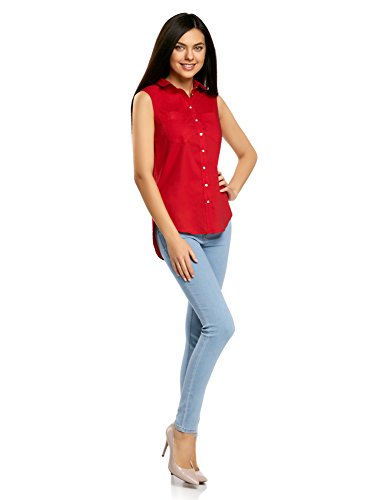 oodji Ultra Mujer Top Básico de Algodón Rojo (4500N)