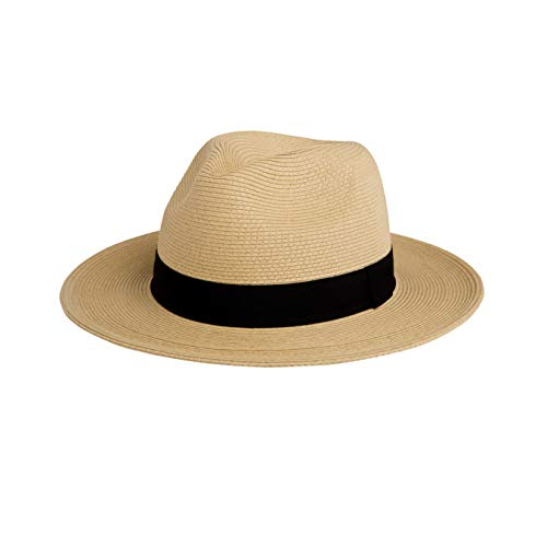 Pineapple&Star Sun Straw Fedora Beach Hat Fine Braid UPF50+ for Both Women Men(Large, Beige)