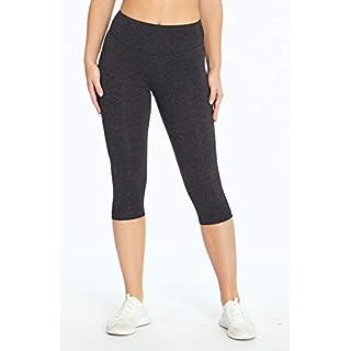 Bally Total Fitness Mid Rise Tummy Control Capri Legging, Heather Charcoal, Small