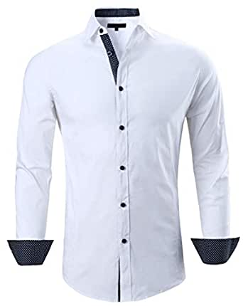 Esabel.C Mens Big and Tall Dress Shirts Long Sleeve Regular Fit Casual Button Down Shirt - White - XX-Large