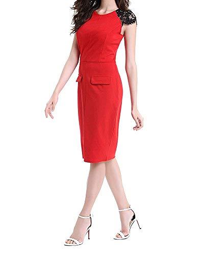c9c436d54f23 Oudan Senza Maniche Dimensione Rosso In Aderente colore Small Pizzo Fit  Longuette Elegante Abito Da Donna Slim Blu r1WXrU