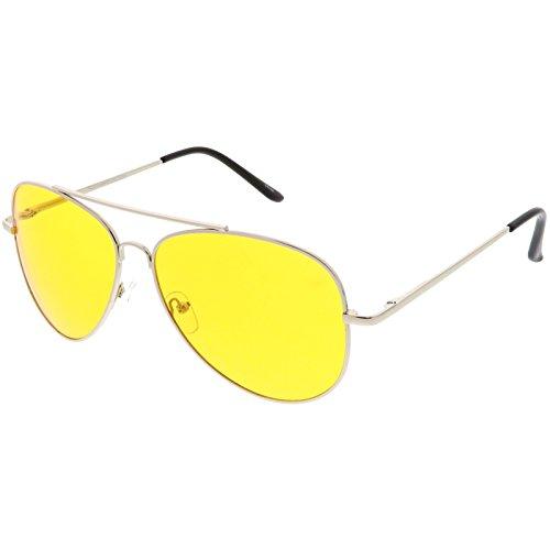 sunglassLA - Large Classic Night Driving Aviator Sunglasse With Yellow Tinted Lens 61mm (Silver / - Aviators Tinted