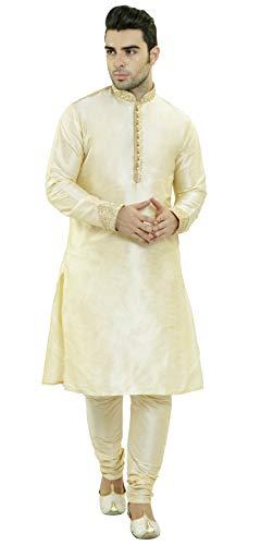 SKAVIJ Men's Tunic Art Silk Kurta Pajama Set Party Dress (Medium, Beige) (Party Wear Dresses For Mens In Summer India)