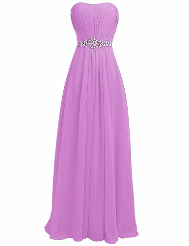 H Evening Long Gown S Rhinestone Lilac Strapless Women's Dress Sash D Bridesmaid 7WBHw7rq