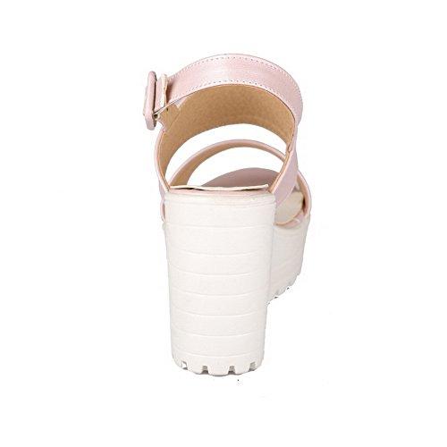 Ouverture Boucle D'orteil Pu Cuir Unie Agoolar Plate Sandales Talon Femme À forme Rose Couleur Haut 4g5wxxAn